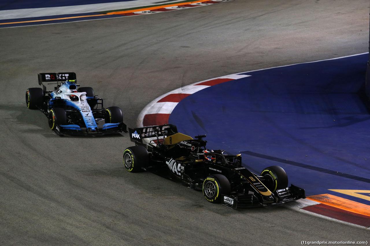 GP SINGAPORE, 22.09.2019 - Gara, Romain Grosjean (FRA) Haas F1 Team VF-19 e Robert Kubica (POL) Williams Racing FW42