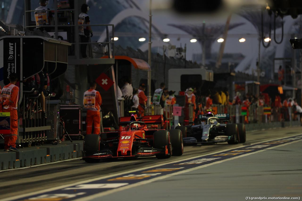 GP SINGAPORE, 21.09.2019 - Prove Libere 3, Charles Leclerc (MON) Ferrari SF90 e Valtteri Bottas (FIN) Mercedes AMG F1 W010