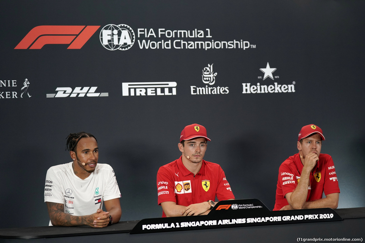 GP SINGAPORE, 21.09.2019 - Qualifiche, Conferenza Stampa, Lewis Hamilton (GBR) Mercedes AMG F1 W10, Charles Leclerc (MON) Ferrari SF90 e Sebastian Vettel (GER) Ferrari SF90