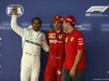 GP SINGAPORE, 21.09.2019 - Qualifiche, 2nd place Lewis Hamilton (GBR) Mercedes AMG F1 W10, Charles Leclerc (MON) Ferrari SF90 pole position e 3rd place Sebastian Vettel (GER) Ferrari SF90