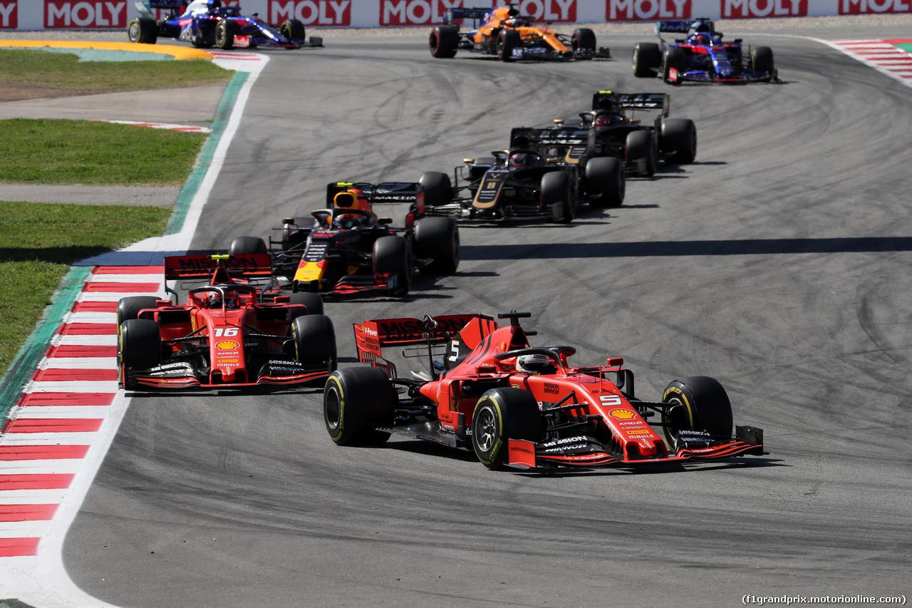 GP SPAGNA, 12.05.2019 - Gara, Sebastian Vettel (GER) Ferrari SF90 davanti a Charles Leclerc (MON) Ferrari SF90