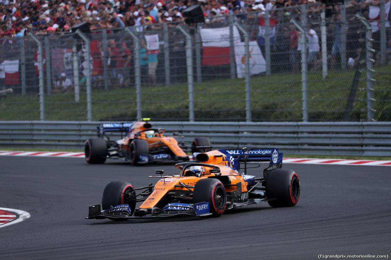 GP UNGHERIA, 04.08.2019 - Gara, Carlos Sainz Jr (ESP) Mclaren F1 Team MCL34 davanti a Lando Norris (GBR) Mclaren F1 Team MCL34