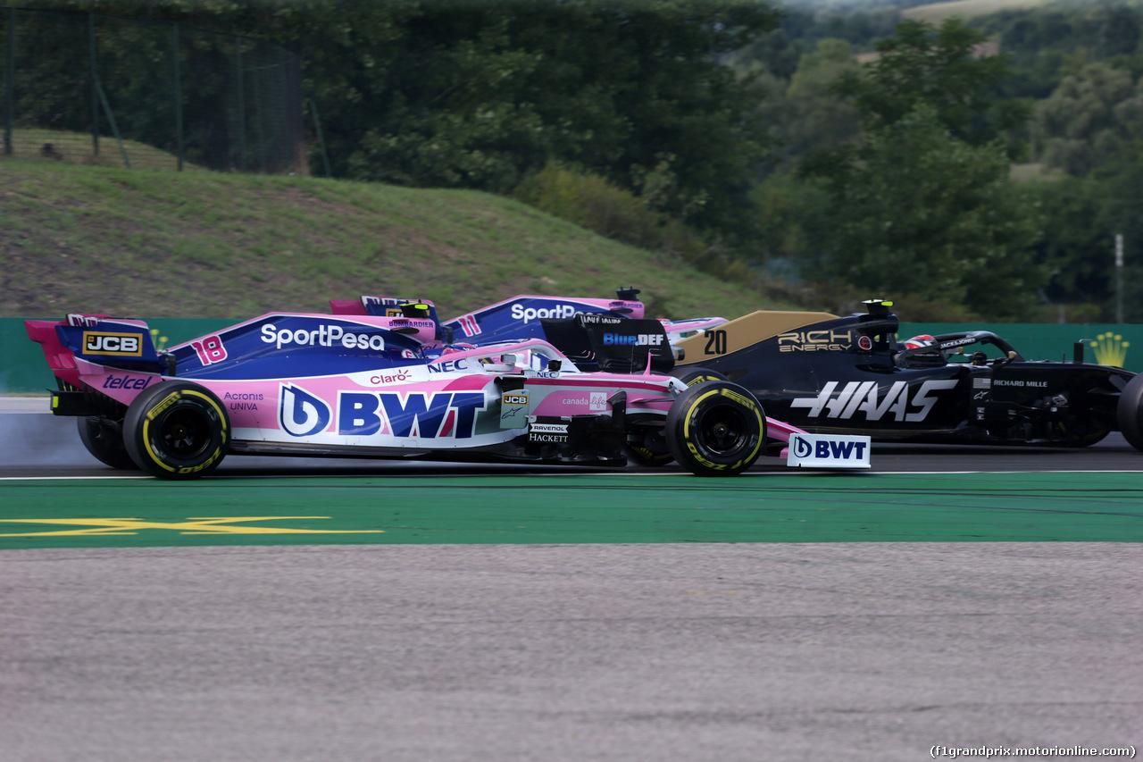 GP UNGHERIA, 04.08.2019 - Gara,Lance Stroll (CDN) Racing Point F1 Team RP19 e Kevin Magnussen (DEN) Haas F1 Team VF-19