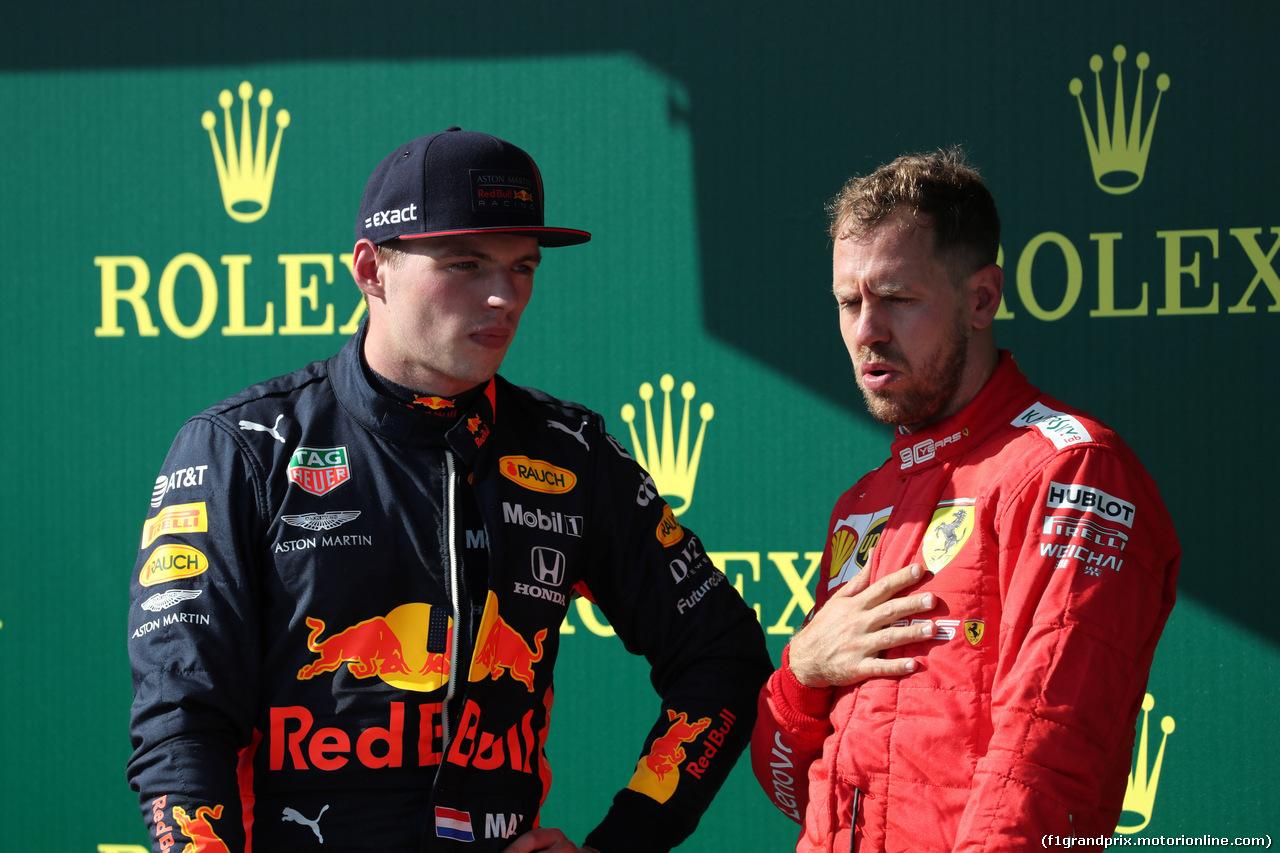 GP UNGHERIA, 04.08.2019 - Gara, 2nd place Max Verstappen (NED) Red Bull Racing RB15 e 3rd place Sebastian Vettel (GER) Ferrari SF90