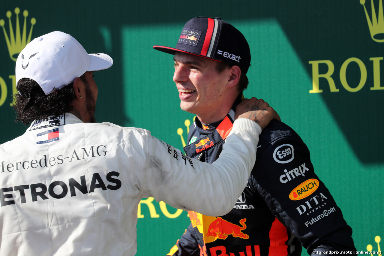 GP UNGHERIA, 04.08.2019 - Gara, Lewis Hamilton (GBR) Mercedes AMG F1 W10 vincitore e 2nd place Max Verstappen (NED) Red Bull Racing RB15