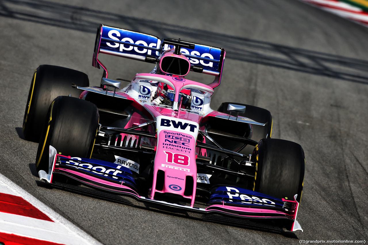 TEST F1 BARCELLONA 19 FEBBRAIO, Lance Stroll (CDN) Racing Point F1 Team RP19. 19.02.2019.