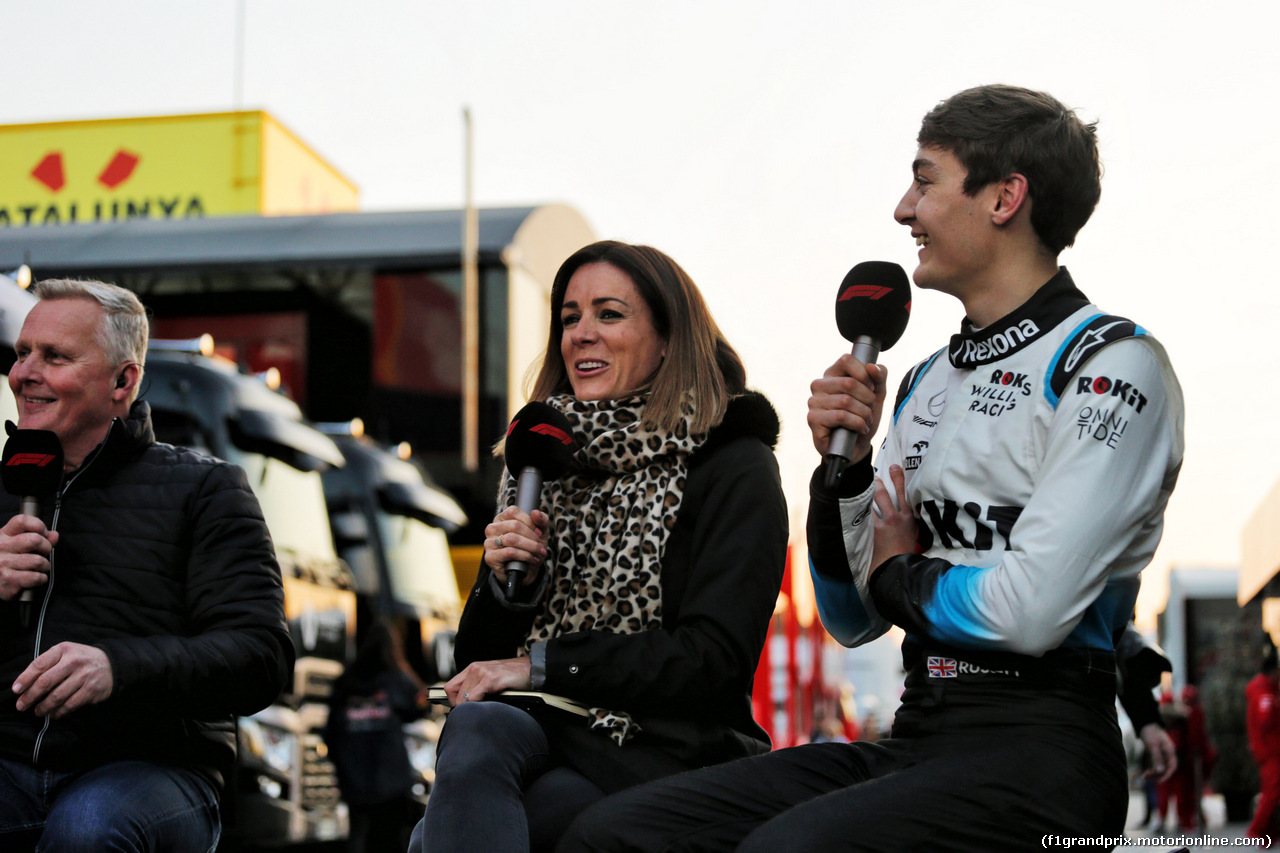 TEST F1 BARCELLONA 20 FEBBRAIO, (L to R): Johnny Herbert (GBR) Sky Sports F1 Presenter with Natalie Pinkham (GBR) Sky Sports Presenter e George Russell (GBR) Williams Racing. 20.02.2019.