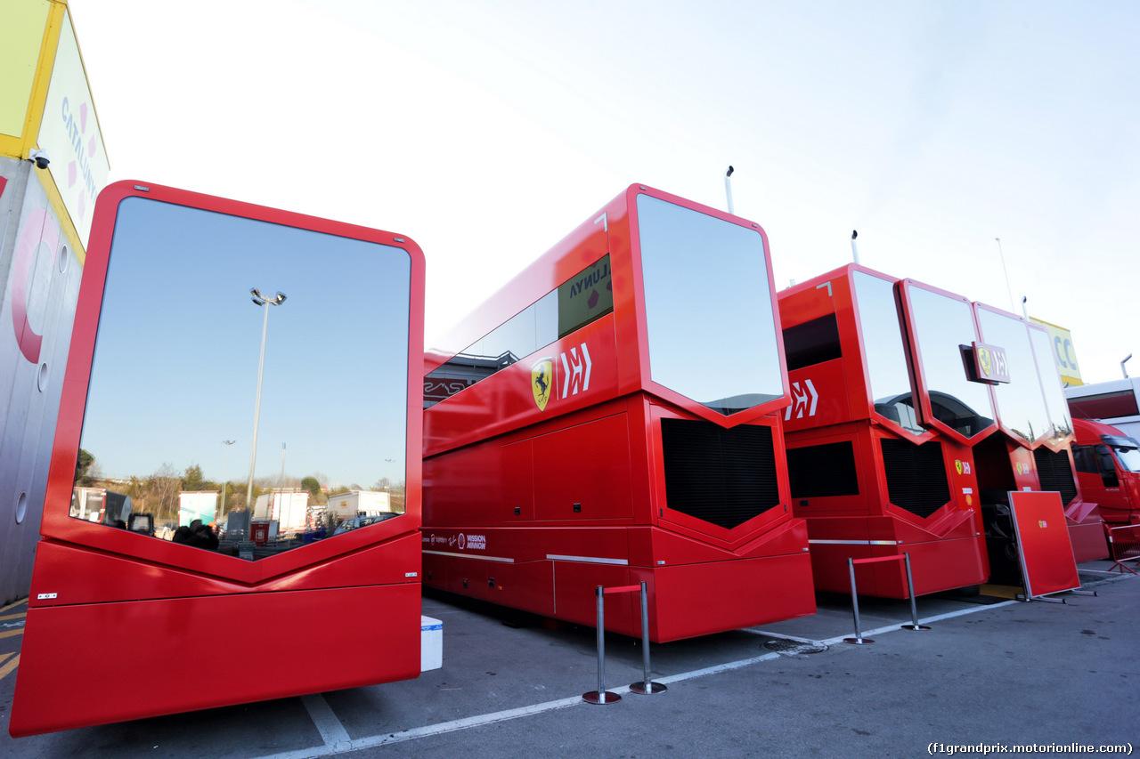 TEST F1 BARCELLONA 26 FEBBRAIO, Ferrari trucks in the paddock. 26.02.2019.