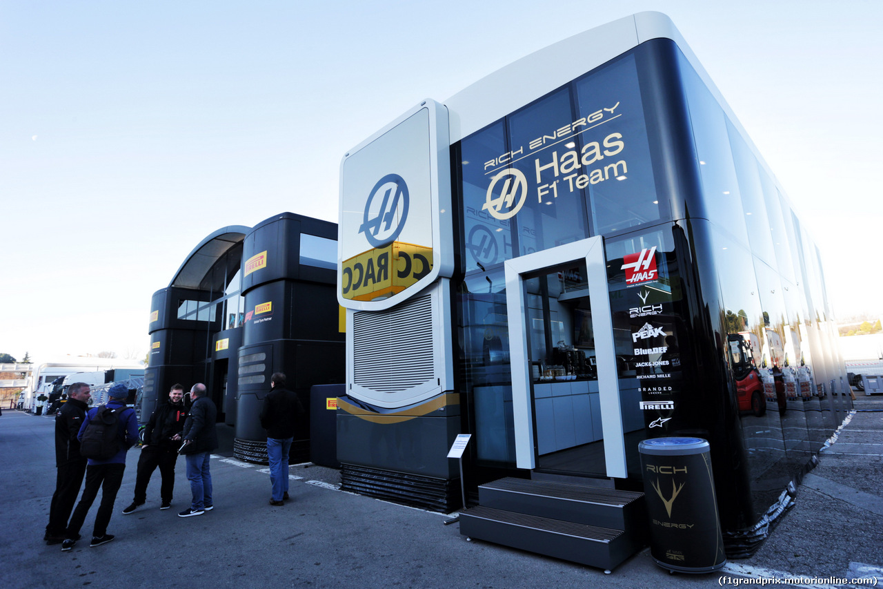 TEST F1 BARCELLONA 26 FEBBRAIO, Haas F1 Team motorhome in the paddock. 26.02.2019.