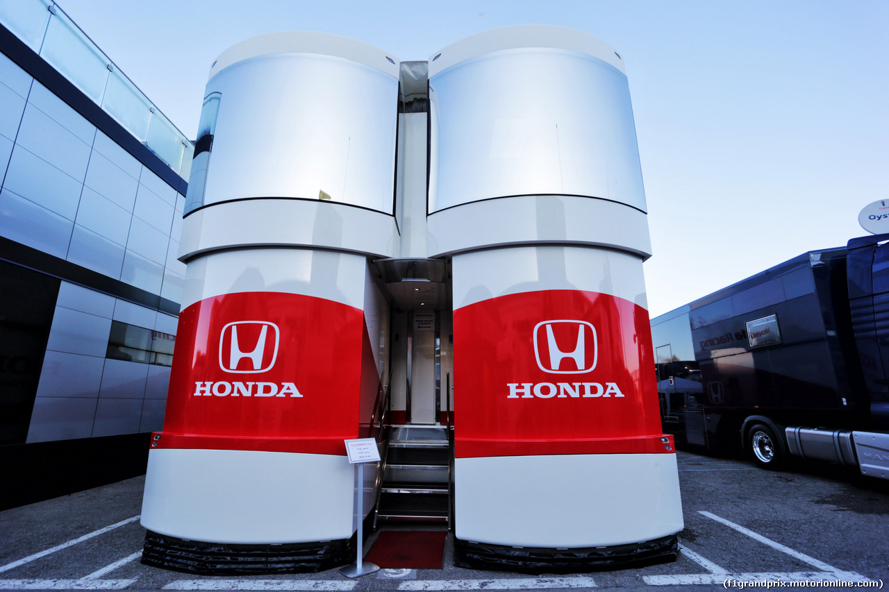 TEST F1 BARCELLONA 26 FEBBRAIO, Honda trucks in the paddock. 26.02.2019.