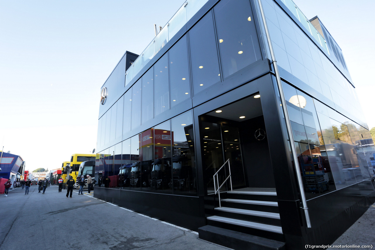TEST F1 BARCELLONA 26 FEBBRAIO, Mercedes AMG F1 motorhome in the paddock. 26.02.2019.
