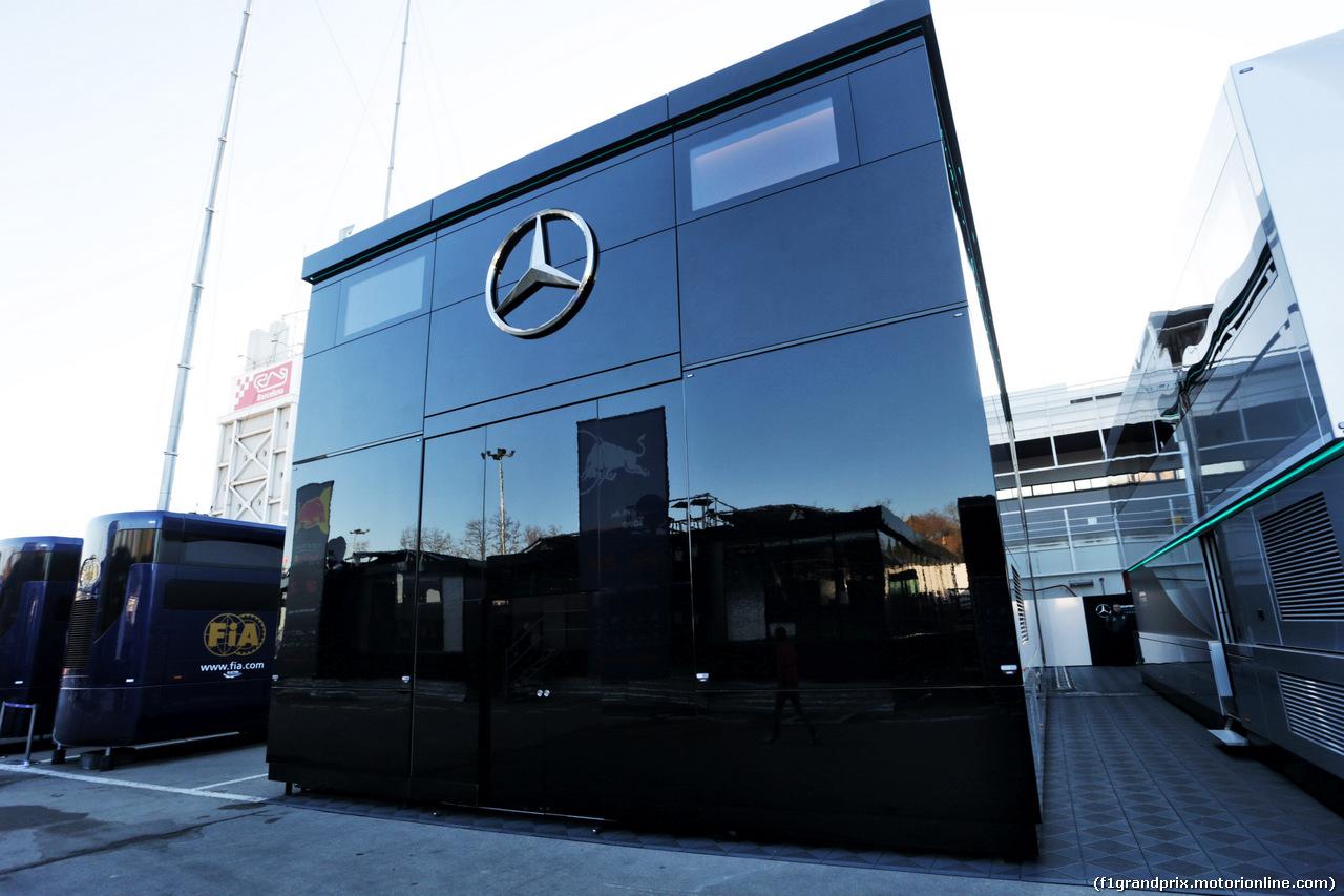 TEST F1 BARCELLONA 26 FEBBRAIO, Mercedes AMG F1 in the paddock. 26.02.2019.