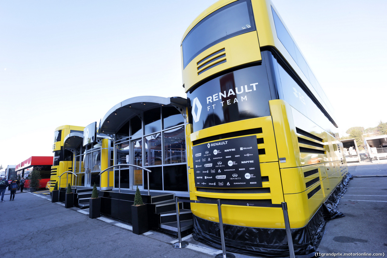TEST F1 BARCELLONA 26 FEBBRAIO, Renault Sport F1 Team motorhome in the paddock. 26.02.2019.