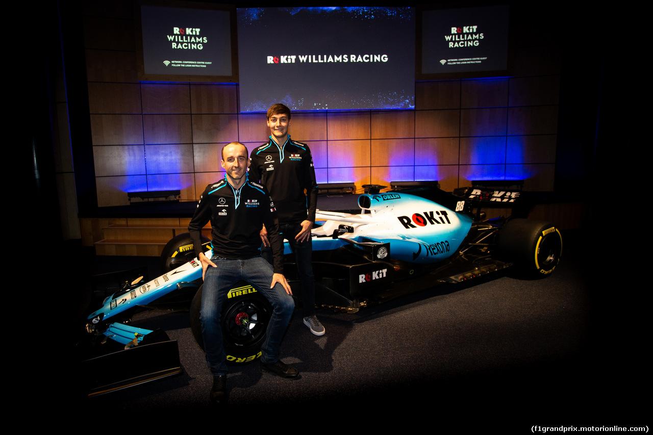 WILLIAMS LIVREA ROCKIT, Robert Kubica (POL) Williams Racing with team mate George Russell (GBR) Williams Racing. 11.02.2019.