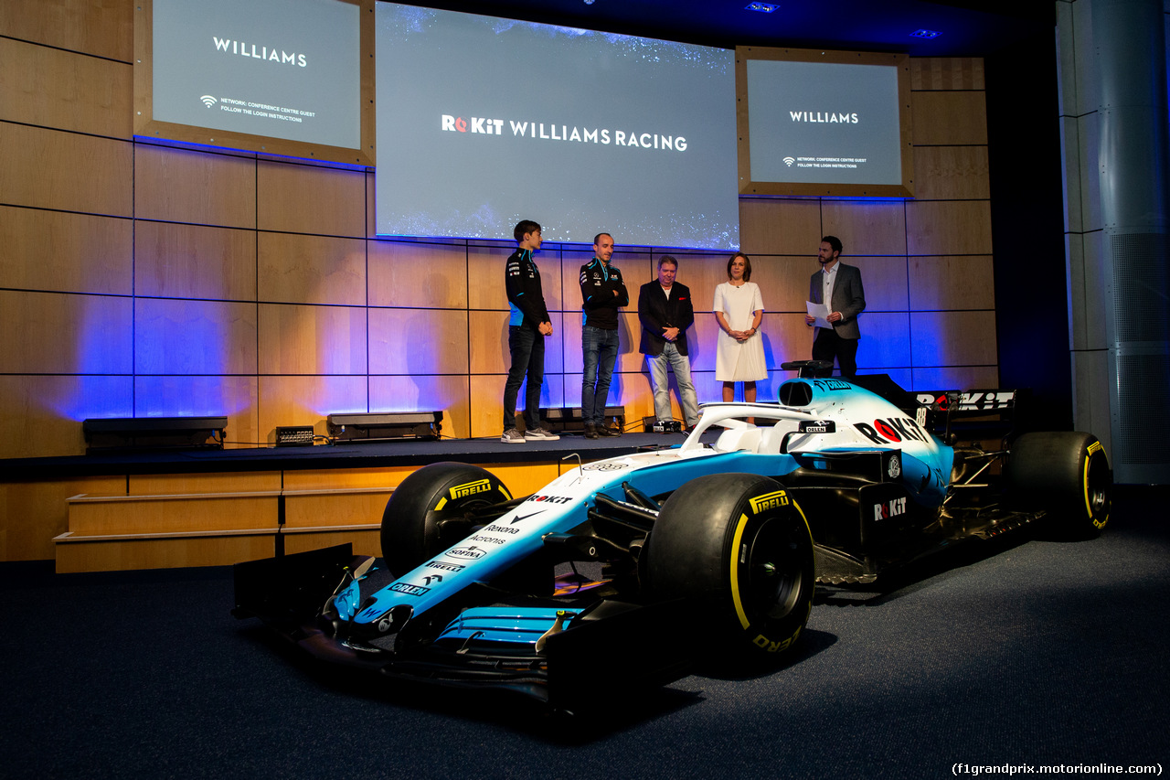 WILLIAMS LIVREA ROCKIT, (L to R): George Russell (GBR) Williams Racing; Robert Kubica (POL) Williams Racing; Jonathan Kendrick (GBR) ROK Group Chairman; Claire Williams (GBR) Williams Racing Deputy Team Principal. 11.02.2019.