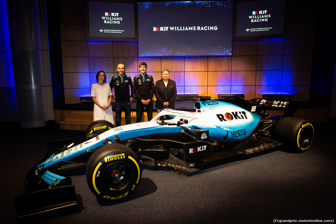 WILLIAMS LIVREA ROCKIT, (L to R): Claire Williams (GBR) Williams Racing Deputy Team Principal with Robert Kubica (POL) Williams Racing; George Russell (GBR) Williams Racing; e Jonathan Kendrick (GBR) ROK Group Chairman. 11.02.2019.