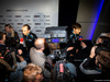 WILLIAMS LIVREA ROCKIT, (L to R): Robert Kubica (POL) Williams Racing e team mate George Russell (GBR) Williams Racing with the media. 11.02.2019.