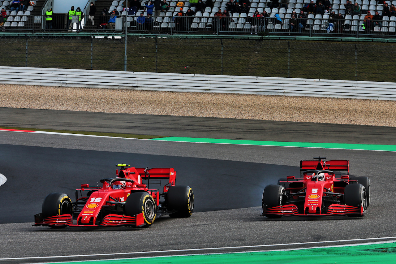 GP EIFEL, Charles Leclerc (MON) Ferrari SF1000 e team mate Sebastian Vettel (GER) Ferrari SF1000 battle for position.
