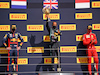 GP GRAN BRETAGNA, The podium (L to R): Max Verstappen (NLD) Red Bull Racing, second; Lewis Hamilton (GBR) Mercedes AMG F1, vincitore; Charles Leclerc (MON) Ferrari, third.                               