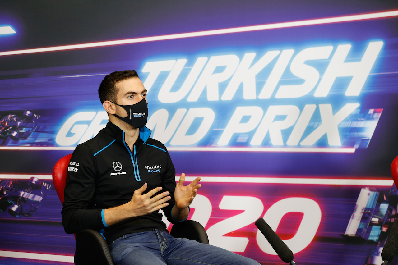 GP TURCHIA, Nicholas Latifi (CDN) Williams Racing in the FIA Press Conference. 12.11.2020. Formula 1 World Championship, Rd 14, Turkish Grand Prix, Istanbul, Turkey, Preparation Day. - www.xpbimages.com, EMail: requests@xpbimages.com © Copyright: FIA Pool Image for Editorial Use Only