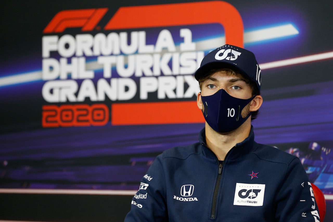 GP TURCHIA, Pierre Gasly (FRA) AlphaTauri in the FIA Press Conference. 12.11.2020. Formula 1 World Championship, Rd 14, Turkish Grand Prix, Istanbul, Turkey, Preparation Day. - www.xpbimages.com, EMail: requests@xpbimages.com © Copyright: FIA Pool Image for Editorial Use Only
