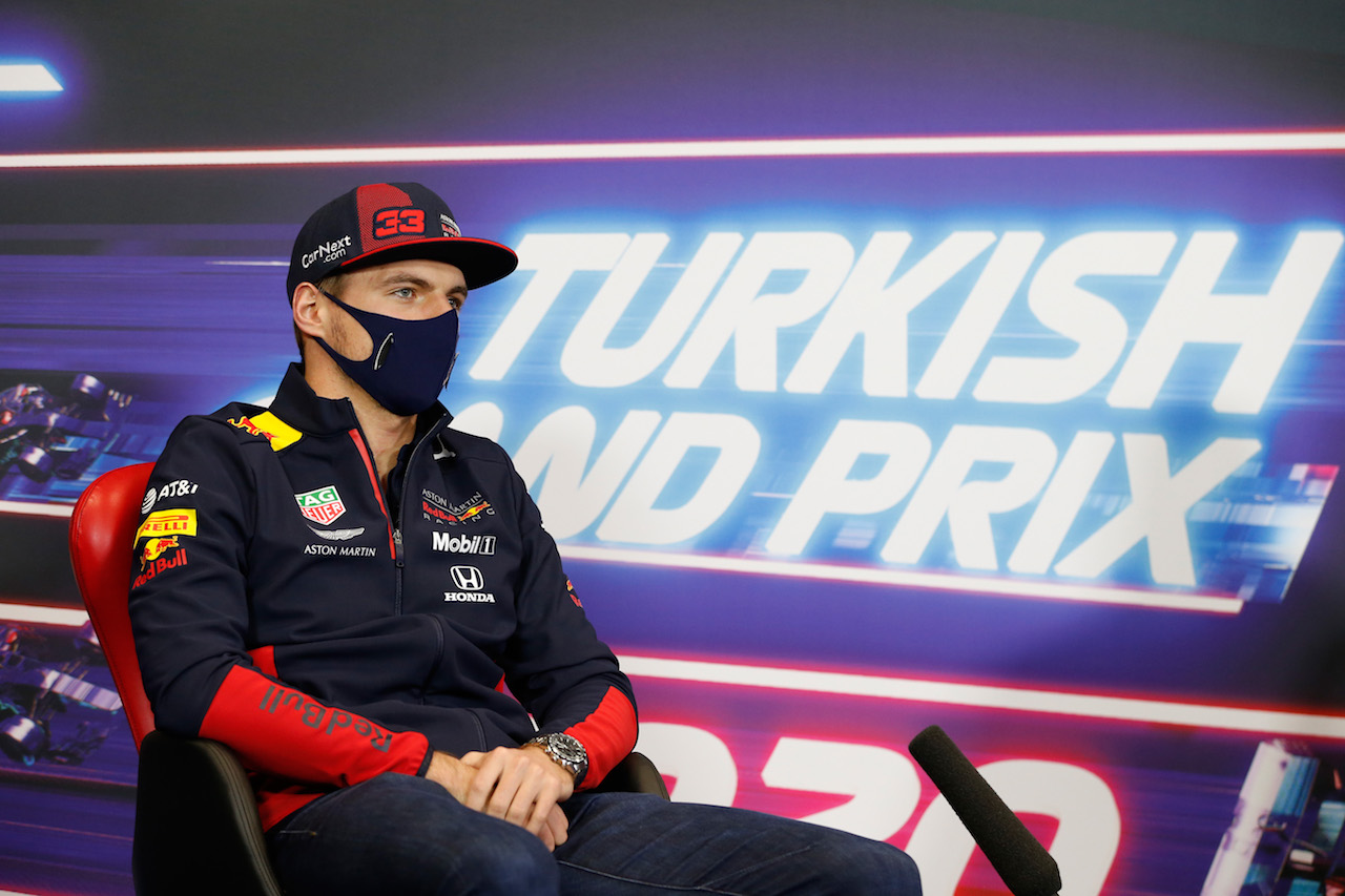 GP TURCHIA, Max Verstappen (NLD) Red Bull Racing in the FIA Press Conference. 12.11.2020. Formula 1 World Championship, Rd 14, Turkish Grand Prix, Istanbul, Turkey, Preparation Day. - www.xpbimages.com, EMail: requests@xpbimages.com © Copyright: FIA Pool Image for Editorial Use Only