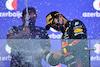 GP AZERBAIJAN, Gara winner Sergio Perez (MEX) Red Bull Racing celebrates on the podium. 06.06.2021. Formula 1 World Championship, Rd 6, Azerbaijan Grand Prix, Baku Street Circuit, Azerbaijan, Gara Day. - www.xpbimages.com, EMail: requests@xpbimages.com © Copyright: Moy / XPB Images