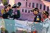 GP AZERBAIJAN, (L to R): Sebastian Vettel (GER) Aston Martin F1 Team celebrates his second position on the podium with vincitore Sergio Perez (MEX) Red Bull Racing e third placed Pierre Gasly (FRA) AlphaTauri. 06.06.2021. Formula 1 World Championship, Rd 6, Azerbaijan Grand Prix, Baku Street Circuit, Azerbaijan, Gara Day. - www.xpbimages.com, EMail: requests@xpbimages.com © Copyright: Batchelor / XPB Images