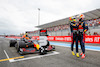 GP FRANCIA, Gara winner Max Verstappen (NLD) Red Bull Racing (Right) celebrates with third placed team mate Sergio Perez (MEX) Red Bull Racing in parc ferme. 20.06.2021. Formula 1 World Championship, Rd 7, French Grand Prix, Paul Ricard, France, Gara Day. - www.xpbimages.com, EMail: requests@xpbimages.com © Copyright: FIA Pool Image for Editorial Use Only