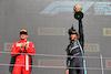 GP GRAN BRETAGNA, Gara winner Lewis Hamilton (GBR) Mercedes AMG F1 celebrates on the podium with second placed Charles Leclerc (MON) Ferrari (Left). 18.07.2021. Formula 1 World Championship, Rd 10, British Grand Prix, Silverstone, England, Gara Day. - www.xpbimages.com, EMail: requests@xpbimages.com © Copyright: Batchelor / XPB Images