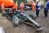 GP IMOLA, The damaged Mercedes AMG F1 W12 of Valtteri Bottas (FIN) e George Russell (GBR) Williams Racing FW43B, who crashed out of the race. 18.04.2021. Formula 1 World Championship, Rd 2, Emilia Romagna Grand Prix, Imola, Italy, Gara Day. - www.xpbimages.com, EMail: requests@xpbimages.com © Copyright: Batchelor / XPB Images