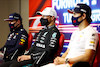 GP TURCHIA, (L to R): Max Verstappen (NLD) Red Bull Racing; Valtteri Bottas (FIN) Mercedes AMG F1; e Sergio Perez (MEX) Red Bull Racing, in the post race FIA Press Conference. 10.10.2021. Formula 1 World Championship, Rd 16, Turkish Grand Prix, Istanbul, Turkey, Gara Day. - www.xpbimages.com, EMail: requests@xpbimages.com © Copyright: FIA Pool Image for Editorial Use Only