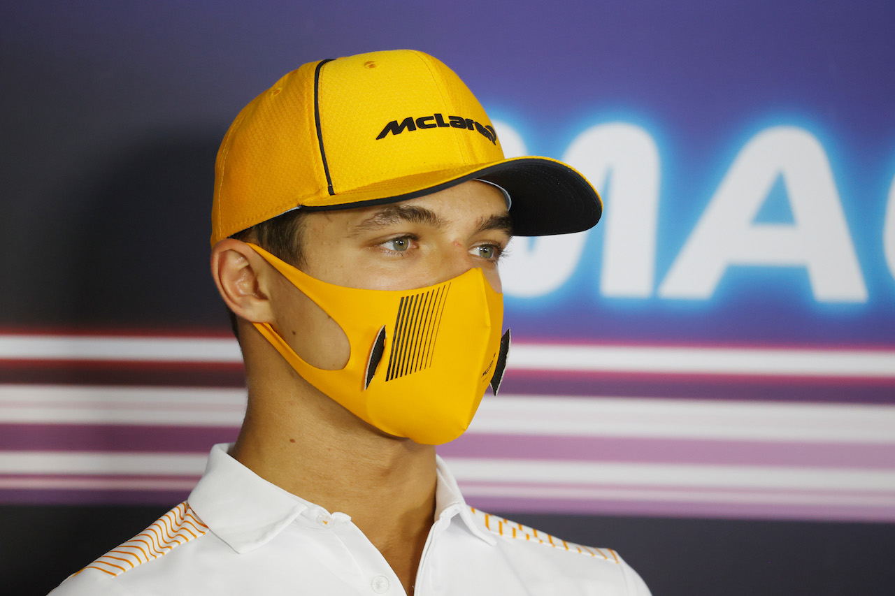 GP UNGHERIA, Lando Norris (GBR) McLaren in the FIA Press Conference. 29.07.2021. Formula 1 World Championship, Rd 11, Hungarian Grand Prix, Budapest, Hungary, Preparation Day. - www.xpbimages.com, EMail: requests@xpbimages.com © Copyright: FIA Pool Image for Editorial Use Only
