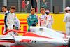 PRESENTAZIONE MONOPOSTO 2022, (L to R): Sebastian Vettel (GER) Aston Martin F1 Team e Mick Schumacher (GER) Haas F1 Team - 2022 Car Launch. 15.07.2021. Formula 1 World Championship, Rd 10, British Grand Prix, Silverstone, England, Preparation Day.  - www.xpbimages.com, EMail: requests@xpbimages.com © Copyright: Davenport / XPB Images