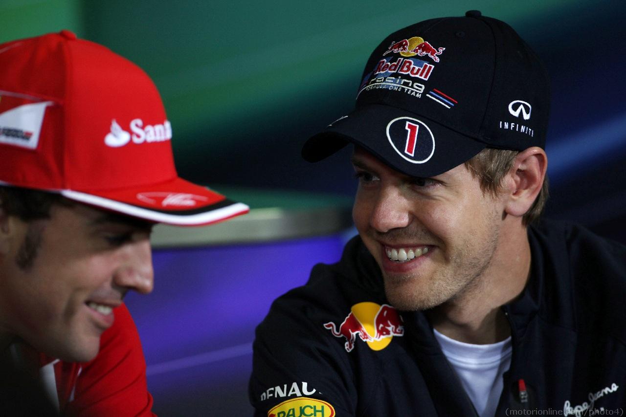 10.05.2012- Press conference, Sebastian Vettel (GER) Red Bull Racing RB8 and Fernando Alonso (ESP) Scuderia Ferrari F2012