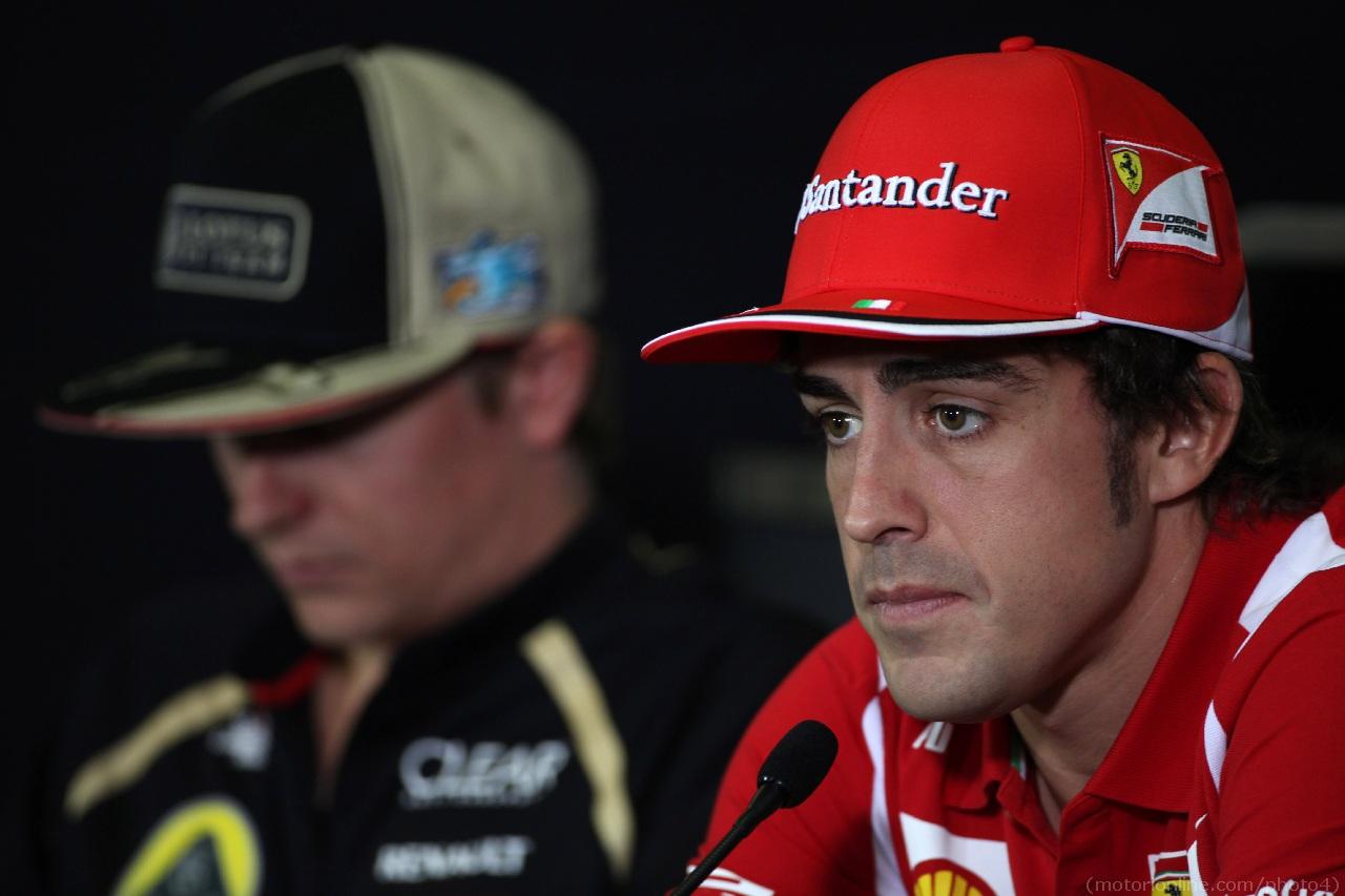 10.05.2012- Press conference, Fernando Alonso (ESP) Scuderia Ferrari F2012 and Kimi Raikkonen (FIN) Lotus F1 Team E20