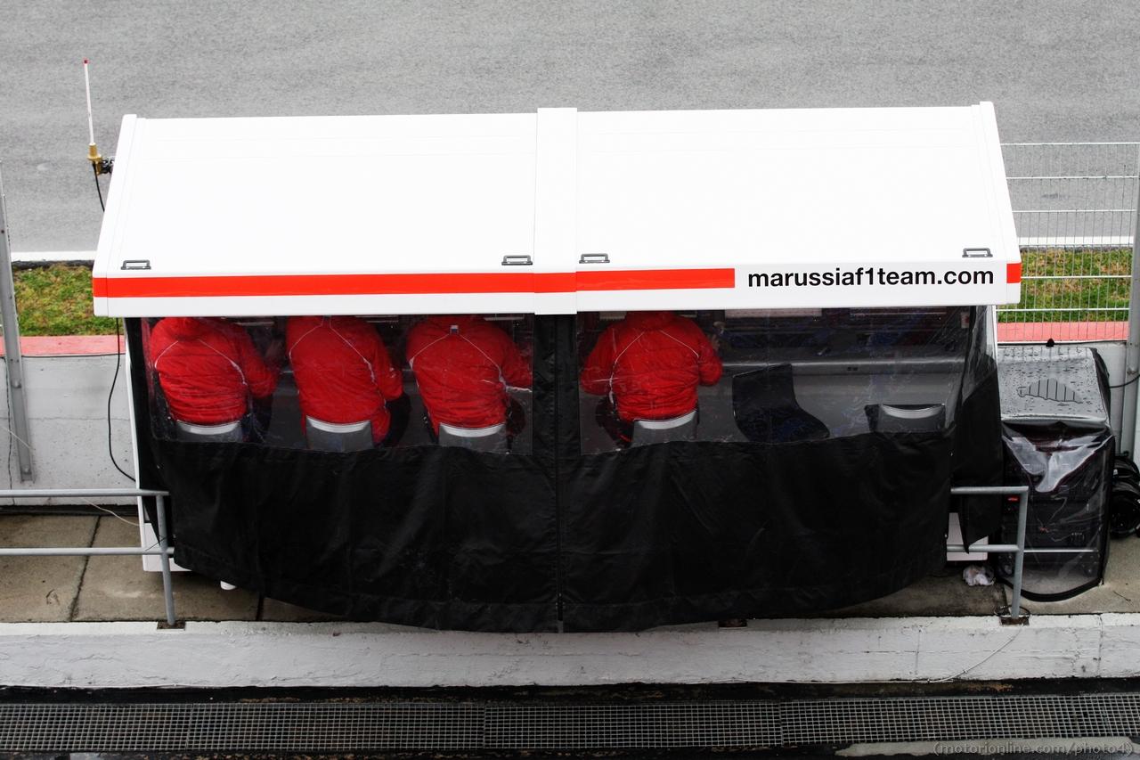 Marussia F1 Team pit gantry. 01.03.2013.