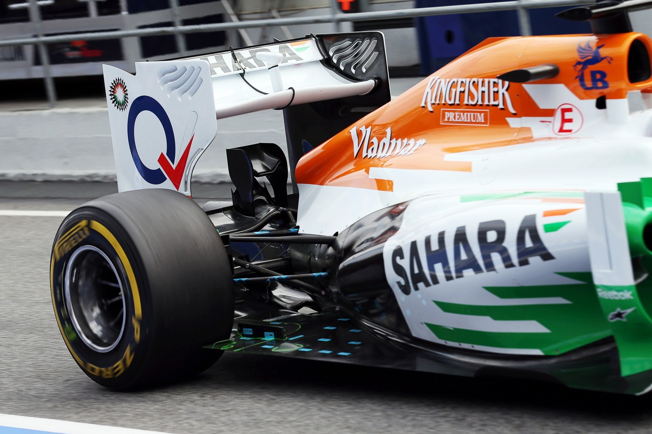 Sahara Force India F1 VJM06 rear suspension running sensor equipment.