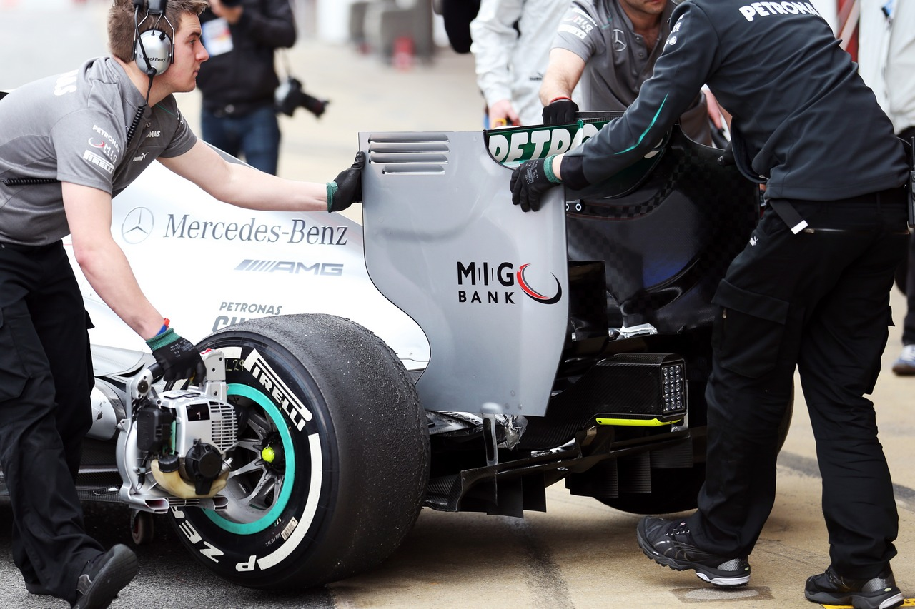 Mercedes AMG F1 W04 rear wing detail.