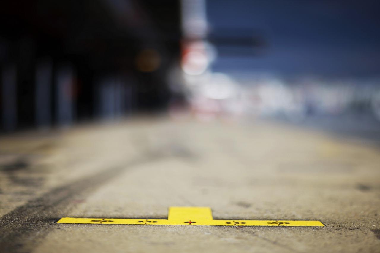 Pit lane markings.