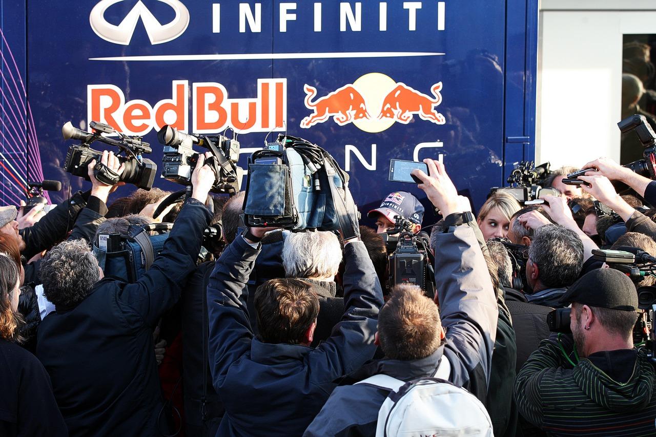 Sebastian Vettel (GER) Red Bull Racing with the media.