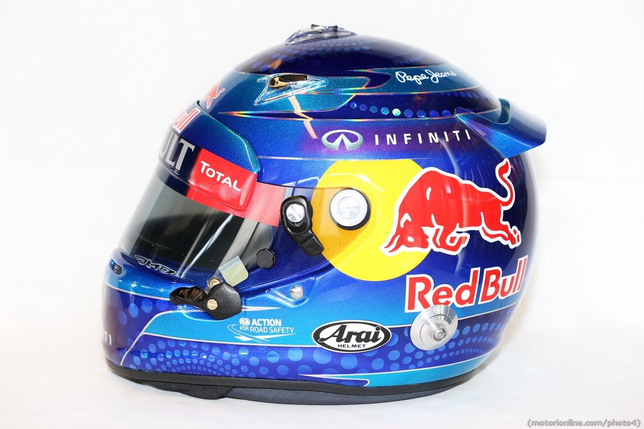 The helmet of Sebastian Vettel (GER) Red Bull Racing.