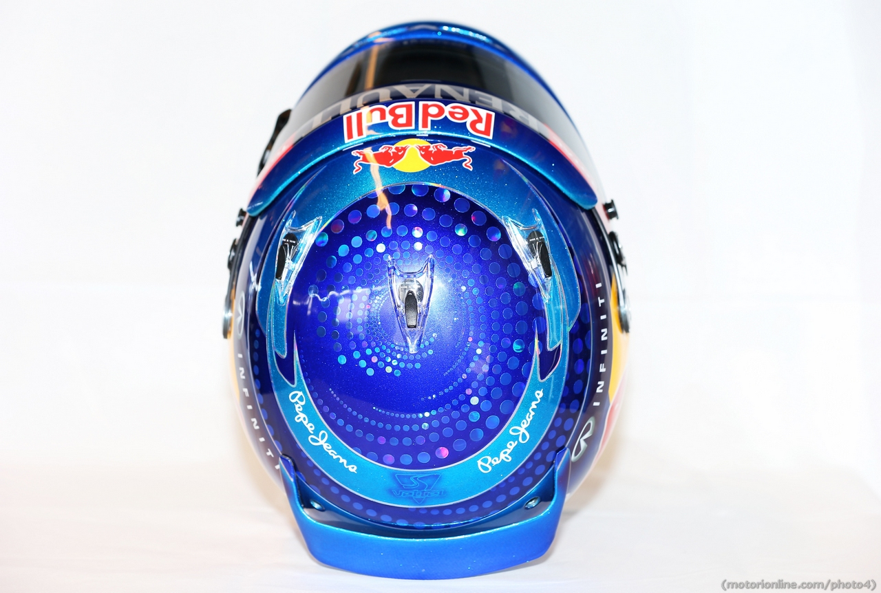 The helmet of Sebastian Vettel (GER) Red Bull Racing.