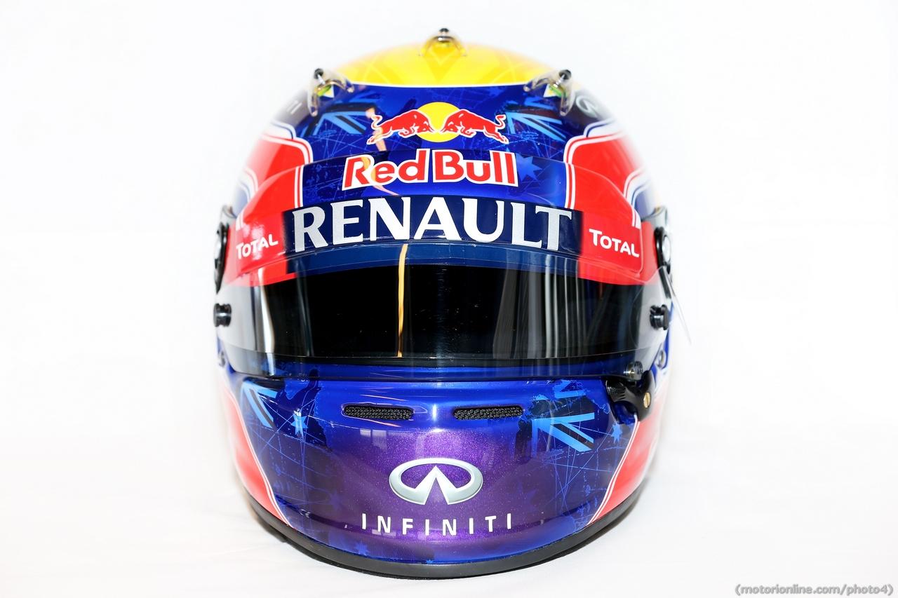The helmet of Mark Webber (AUS) Red Bull Racing.