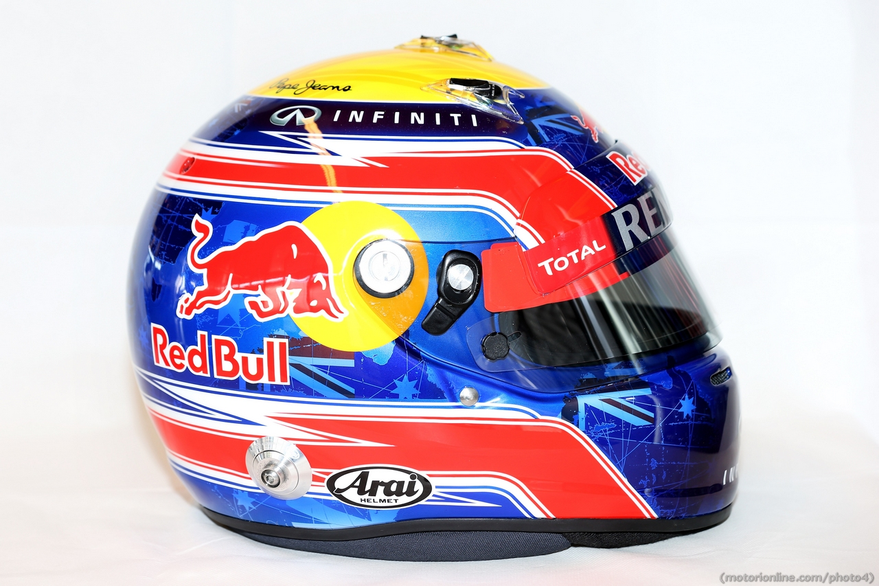The helmet of Mark Webber (AUS) Red Bull Racing.