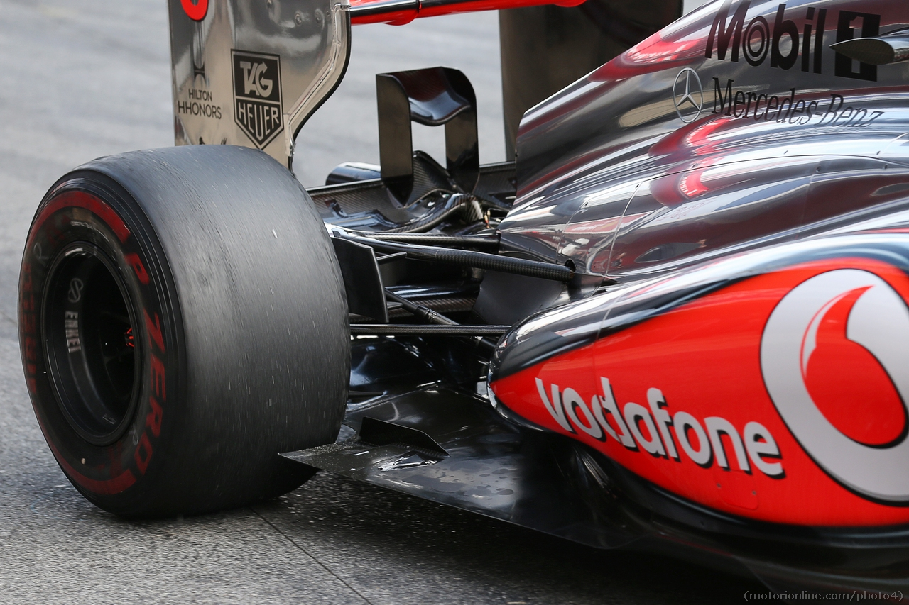 McLaren MP4-28 rear suspension detail.