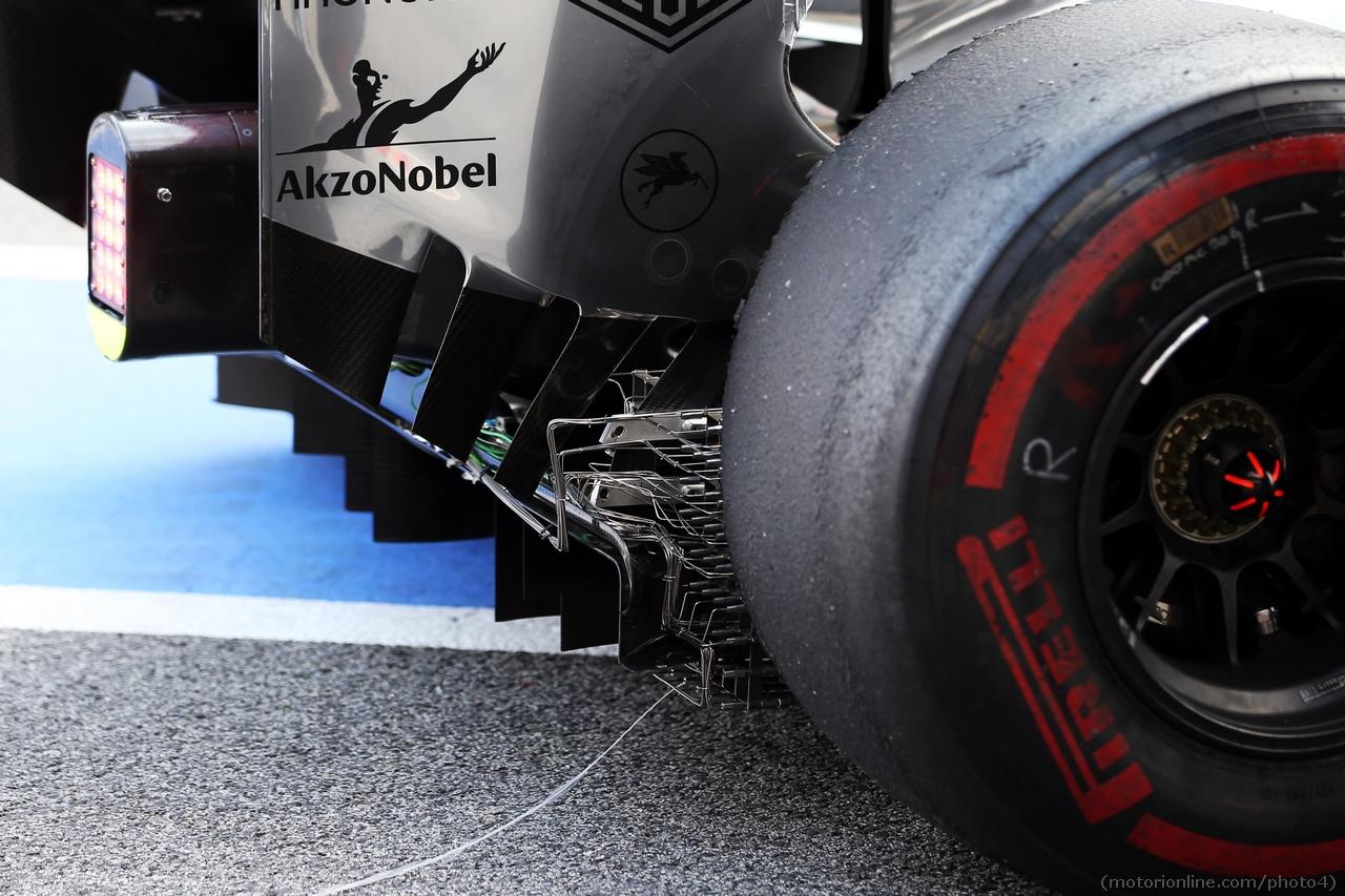 McLaren MP4-28 sensor equipment on the rear diffuser.