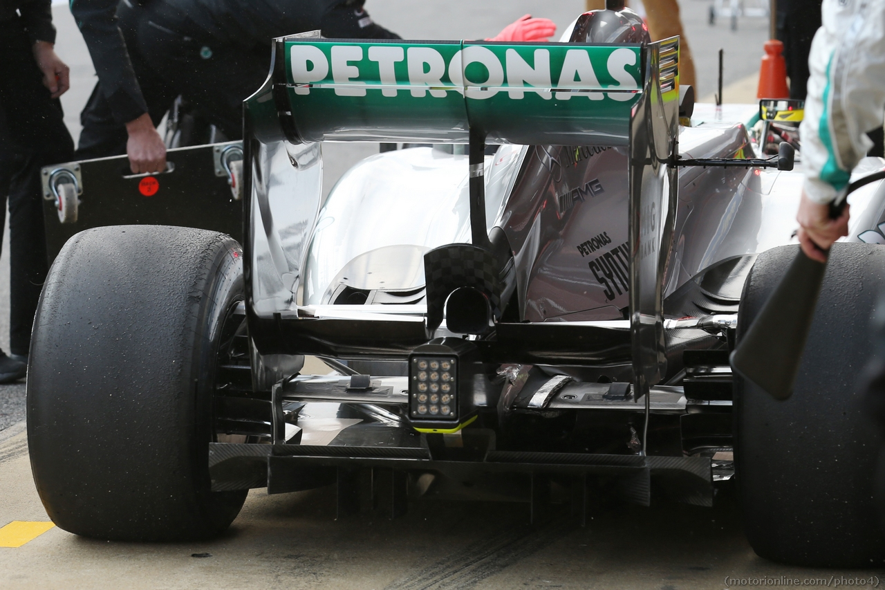 Mercedes AMG F1 W04 running sensor equipment on the rear wing.