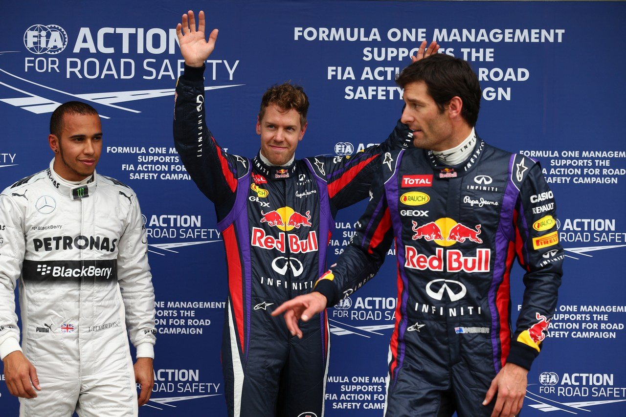 17.03.2013- Qualifying, (L-D) 3rd position Lewis Hamilton (GBR) Mercedes AMG F1 W04, Sebastian Vettel (GER) Red Bull Racing RB9 pole position and 2nd position Mark Webber (AUS) Red Bull Racing RB9