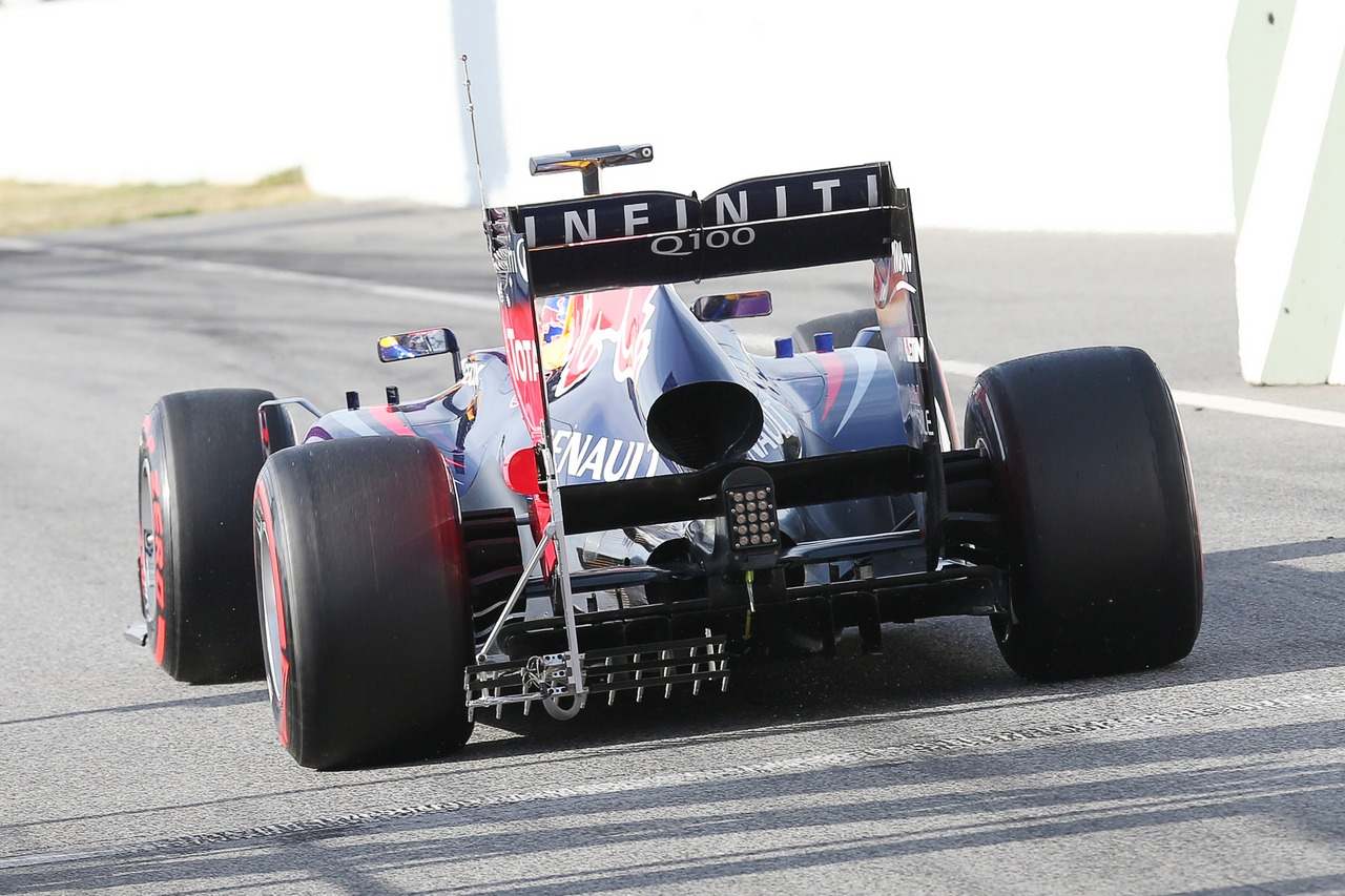Sebastian Vettel (GER) Red Bull Racing RB9 rear diffuser and rear wing running sensor equipment. 03.03.2013.